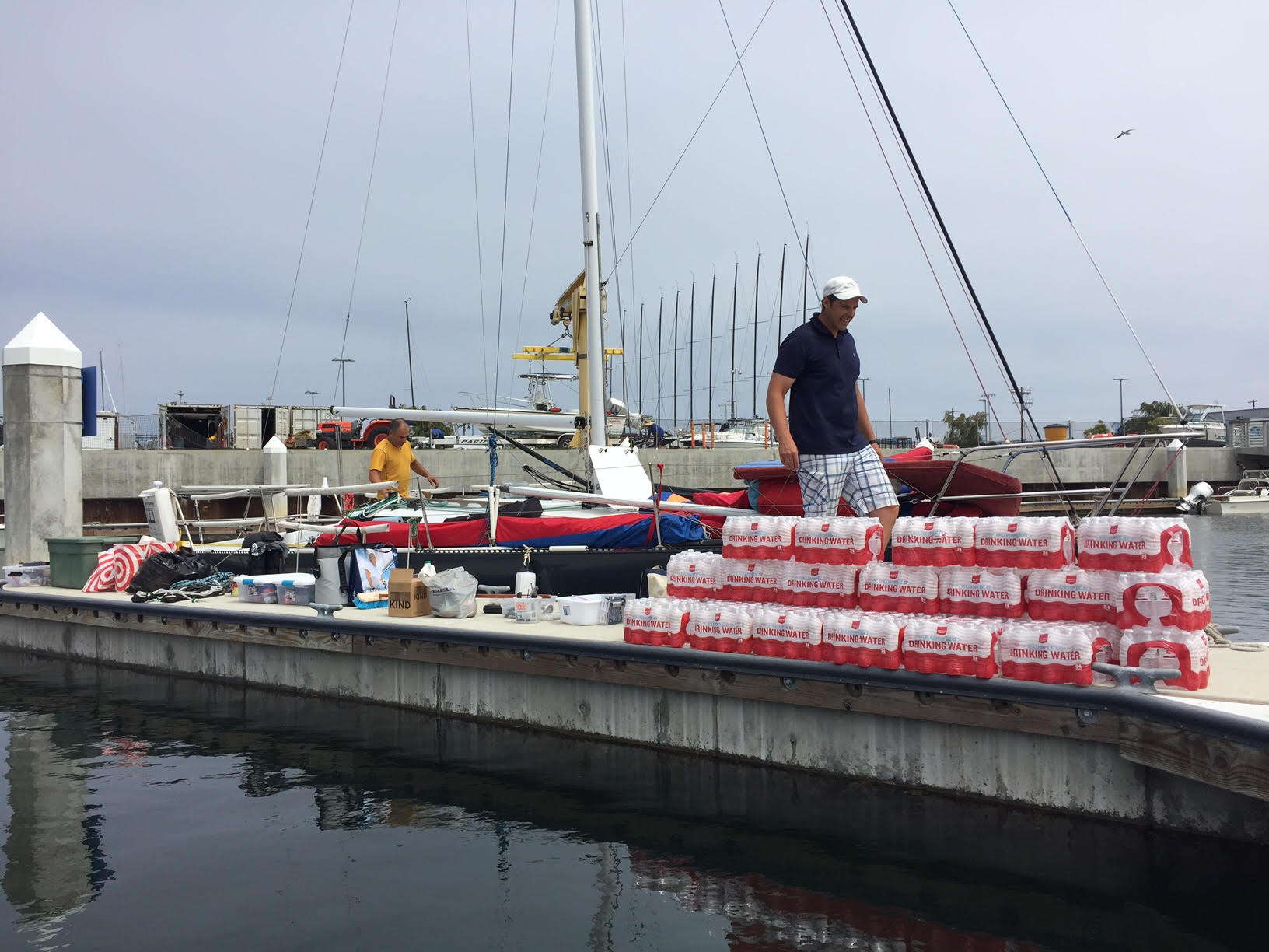 That's 600 bottles of water. Somehow we need to stuff all that into the boat!