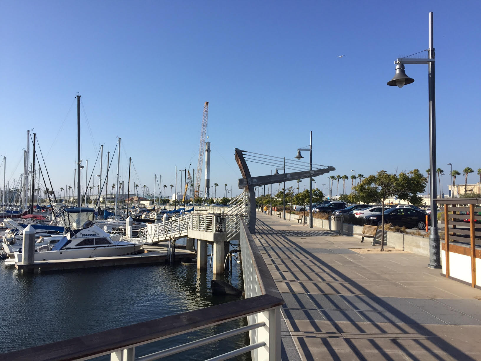 SpaceX Falcon 9 rocket tied up next to our Marina.